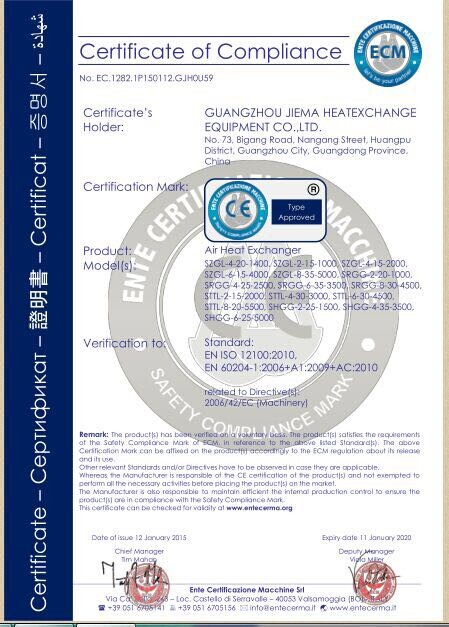 捷玛空气换热器CE认证